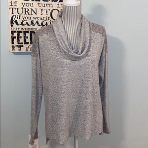 Knox Rose Grey Print Cowl Neck Top with Lace